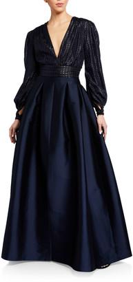 Sachin + Babi Lauren V-Neck Cuffed Long-Sleeve Gown
