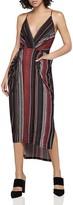 BCBGeneration Wavy Stripe Faux-Wrap Midi Dress