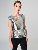 Oscar de la Renta Cap-Sleeve Fish Scale Sequin Embroidered Blouse