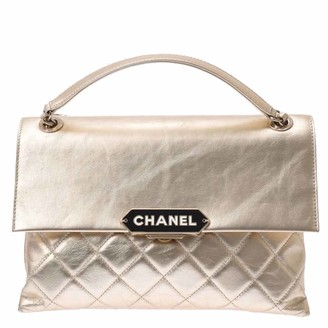 Chanel Gold Leather Logo Chain Shoulder Bag