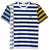 Lacoste Men's Short Sleeve Broken Striped Jersey Tee-Relaxed Fit