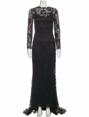 Dolce & Gabbana Lace Pattern Long Dress Brown