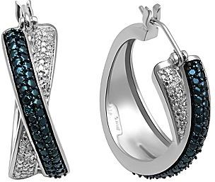 JCPenney White & Irradiated Blue Diamond-Accent X Earrings