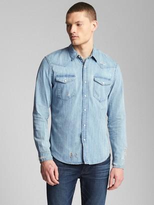 Gap Distressed Denim Western Shirt in Slim Fit
