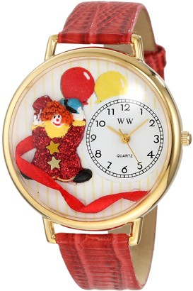 Whimsical Watches Happy Red Clown Red Leather and Goldtone Unisex Quartz Watch with White Dial Analogue Display and Multicolour Leather Strap G-0210003