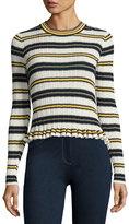 Derek Lam 10 Crosby Striped Crew Neck Combo Sweater, Blue Pattern