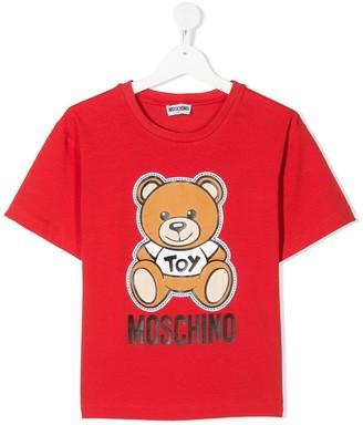 MOSCHINO BAMBINO crew neck teddy print T-shirt