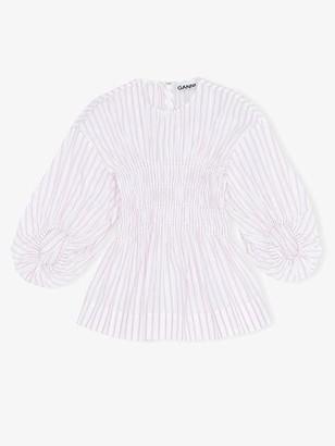 Ganni Stripe Cotton Smock Blouse Cherry Blossom - 34