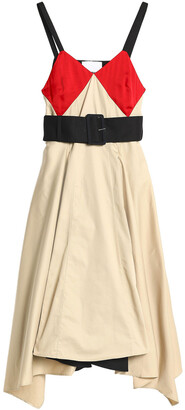 Koché Paneled Crepe-satin And Cotton-gabardine Dress