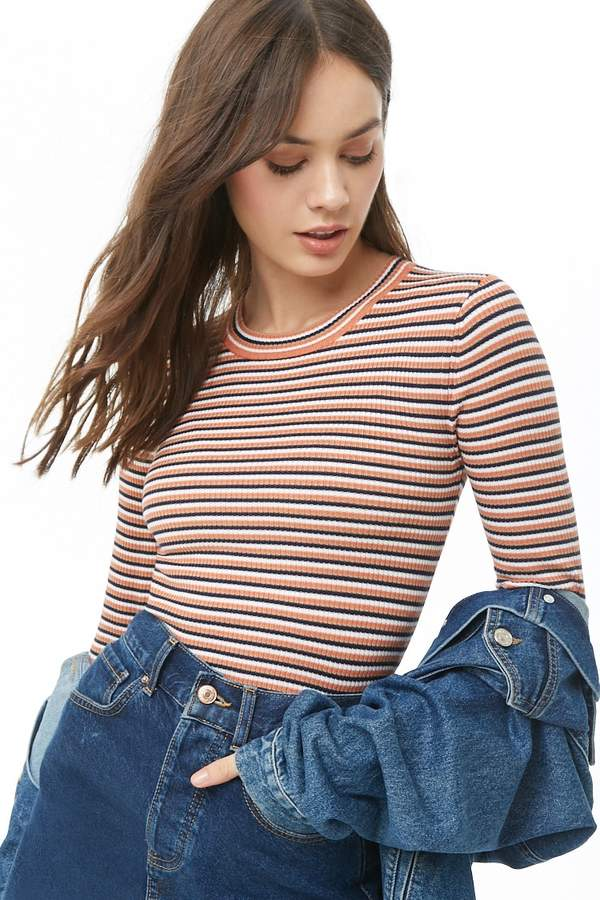 Forever 21 Striped Ribbed Top