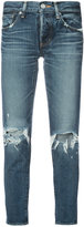 Moussy distressed cropped jeans
