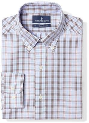 Buttoned Down Classic Fit Button Collar Pattern Dress Shirt, (Blue/Brown Plaid)
