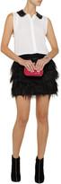 Alice + Olivia Zuma leather-trimmed silk-blend top