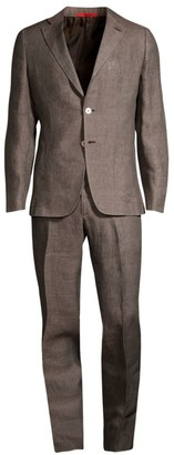 Isaia Delave Solid Linen Single-Breasted Suit