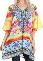 Sakkas P13 - Journie Short Printed Wide Sleeve Plunging V-Neck Lace-Up Kaftan Tunic Top - OS