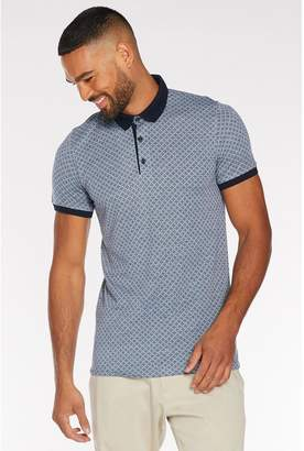 Quiz Printed Polo with Contrast Collar and Piping in Light Blue