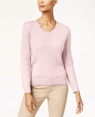 Karen Scott Petite Cotton Cable-Knit Sweater
