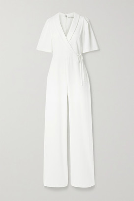Alice + Olivia Luana Wrap-effect Stretch-crepe Jumpsuit - White