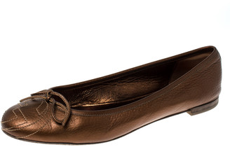 Gucci Golden Brown GG Leather Bow Ballet Flats Size 38