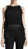 Rachel Zoe Bonnie Hammered Chiffon Top, Black
