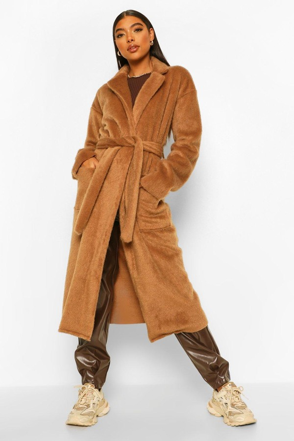 Thumbnail for your product : boohoo Tall Belted Longline Brushed Wool Look Coat