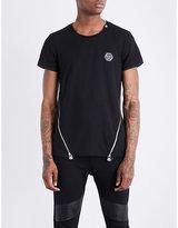 Philipp Plein Zip-detailed Cotton-jersey T-shirt