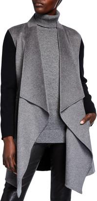 Neiman Marcus Double Face Colorblock Draped Long Cardigan