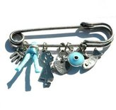 MIZZE Made for Luck Jewelry Tone Evil Eye Protection Charms Baby Safety Pin Brooch for Crib