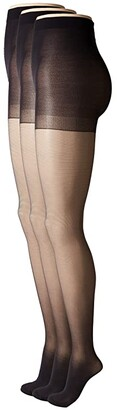 Hue Age Defiance Sheer Pantyhose with Control Top (3-Pack) (Black) Control Top Hose
