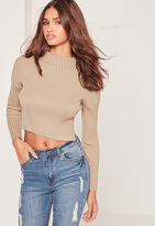 Missguided High Neck Crop Top Camel