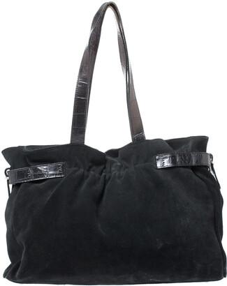 Furla Black Nubuck and Leather Tote