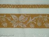 linen corp 51 X 51 Vintage Damask Tablecloth Mustard Spiderweb