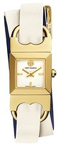 Tory Burch Double-T Link Watch, Ivory/Navy/Gold-Tone, 18 X 18 Mm