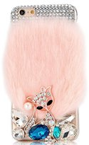 iPhone 6 Plus Bling Case - Fairy Art Luxury 3D Sparkle Series Cute Fox Villus Crystal Design Back Cover with Soft Wallet Purse Red Cloth Pouch - Pink
