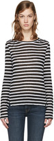 Frame White & Black Striped Pintuck T-Shirt