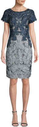 JS Collections Novelty Colorblock Embroidery Sheath Dress