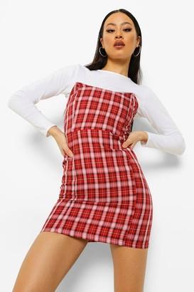 boohoo Checked Strapless Boned Mini Dress