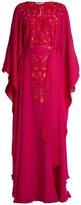Oscar de la Renta Tie-waist embroidered-silk kaftan