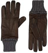 Barneys New York MEN'S RIB-KNIT-CUFF NAPPA LEATHER GLOVES