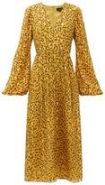 Saloni Camille B Leopard-camo Print Silk-blend Dress - Womens - Leopard