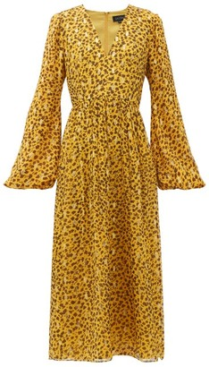 Saloni Camille B Leopard-camo Print Silk-blend Dress - Leopard
