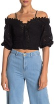 Do & Be Do + Be Cold Shoulder Eyelet Lace-Up Crop Top