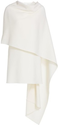 Oscar de la Renta Virgin Wool-Blend Cape Dress