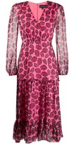 Saloni leaf-print silk dress