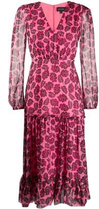 Saloni leaf-print silk dress