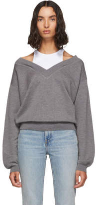 Alexander Wang Grey and White Cropped Bi-Layer V-Neck Sweater