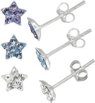 Charming Girl Kids' Sterling Silver Crystal Star Stud Earring Set - 3 Pair