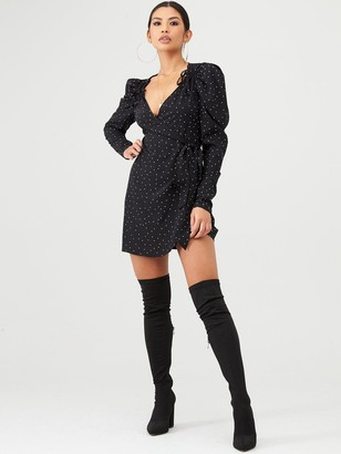 In The Style X Stephsa Polka Dot Puff Sleeve Wrap Dress - Black