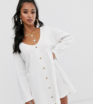 Asos DESIGN Petite mini button through swing dress in texture-White