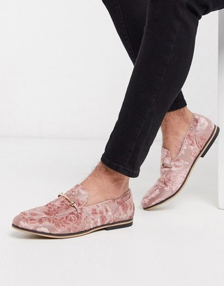 ASOS DESIGN loafers in pink burnout with floral design with snaffle